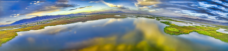 Cutler Marsh Sunset Golden Pano