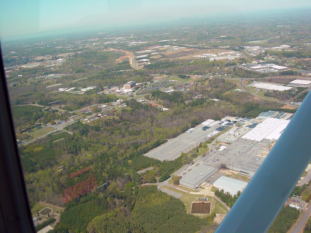 Approaching Catawba Valley Medical Center. Old General Electric Plant is still in the forground by the airplane strut.