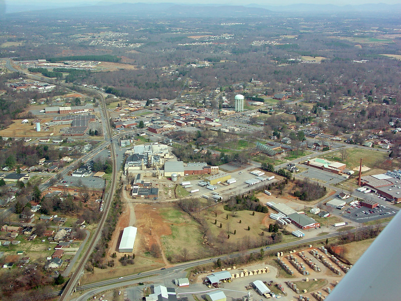 Downtown Conover in upper third of photo - Old Broyhill plant in center - Concordia Lutheran & Elementary School middle Right