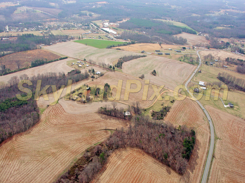 Shooting south - Bethany Church Road - Melinda Lane - Coulter, Charles Pitts Jr. property in center. Aerial Photo from Conover, NC / Claremont, NC