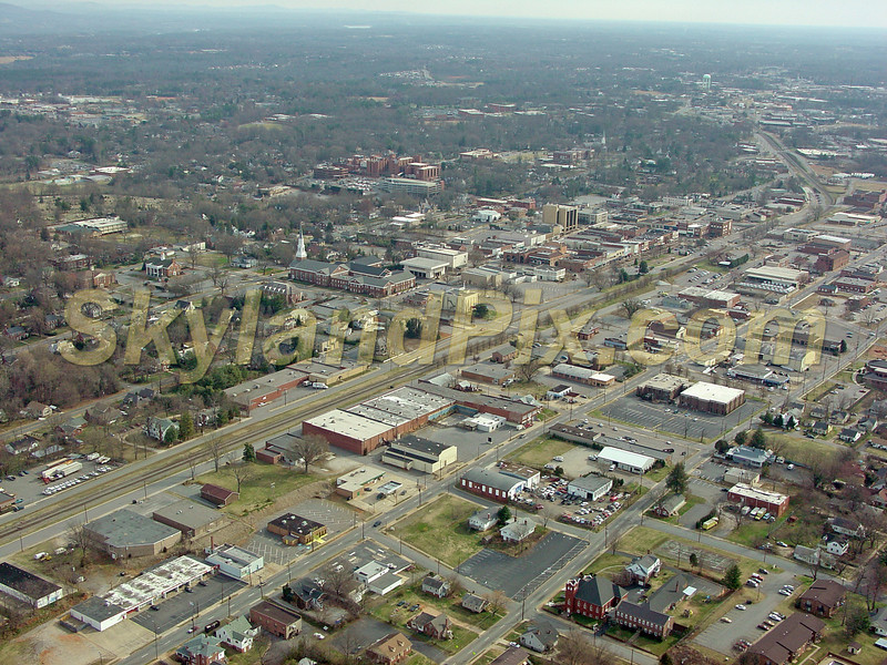 Downtown Hickory, NC shooting Northeast - Frye Regional Medical Center in upper mid left.