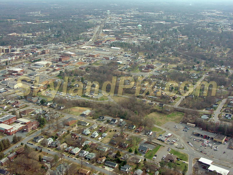 Downtown Hickory - 2nd Avenue SW - 3rd Street SW - 3rd Avenue SW - 4th Aveenue SW - 3rd Street Drive SW - Girl Scouts Headquarters in Lower Right - Car Dealership in Lower Right, Downtown in upper third of Left