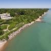 Aerial view of home along Lake Michigan, Glencoe, Illinois
