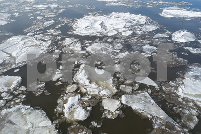 Chunks of glacier ice in water river
