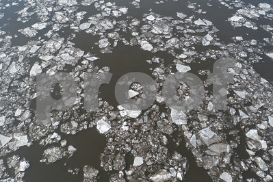 Drone image winter icy water river glaciers