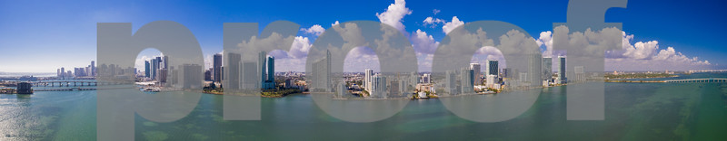 Aerial drone panorama Miami Downtown and Edgewater biscayne Bay