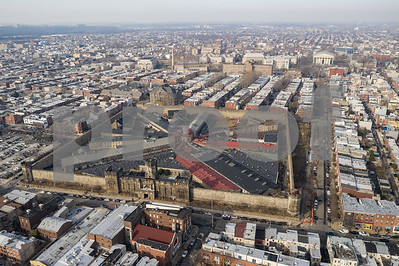 Aerial drone photo Eastern State Penitentiary Philadelphia PA