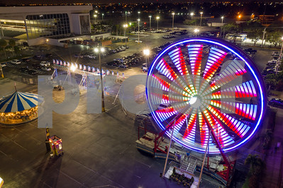 Aerial night photo Broward County youth Fair Hallandale Florida USA