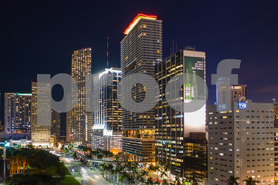Aerial night long exposure Downtown Miami Dade Florida