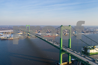 Aerial image of the Walt Whitman Bridge Delware River between NJ and PA
