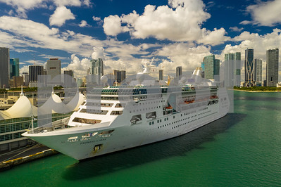 Aerial photo Empress of the Seas cruise ship in Miami