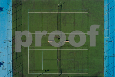 Aerial overhead shot of a tennis court