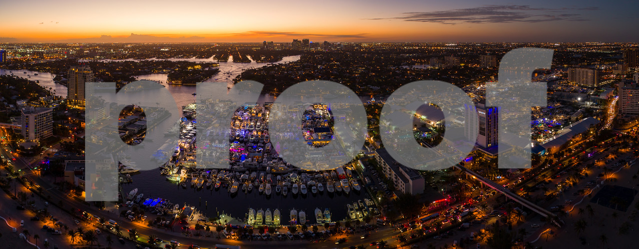 Aerial panorama Fort Lauderdale International Boat Show at twilight dusk