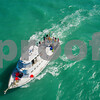 Aerial image of a fishing boat in the ocean