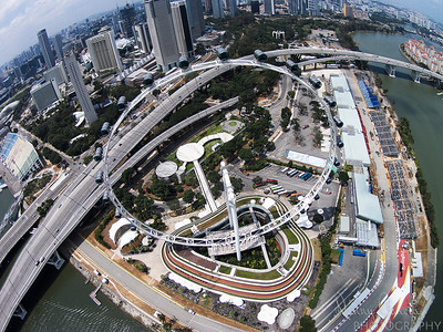 Aerial Photograph of Singapore Flyer