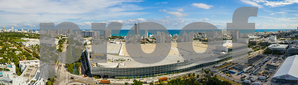 Miami Beach Convention Center aerial drone panorama