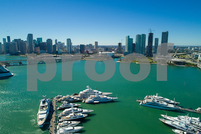 Aerial image yachts at Downtown Miami Florida