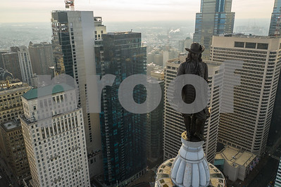 Aerial photo William Penn Statue on the Philadelphia City Hall Building