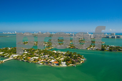 Aerial Venetian Islands Miami Beach Biscayne Bay vibrant colors