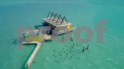Homes on stilts in the ocean Miami FL Biscayne Bay