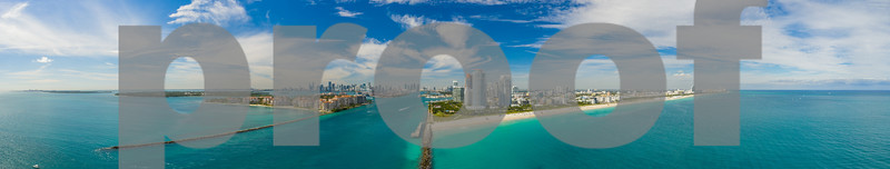 Premium wide angle panorama Miami Beach Florida landscape aerial photo