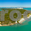 Aerial shot of the El Farito Lighthouse Cape Florida Miami