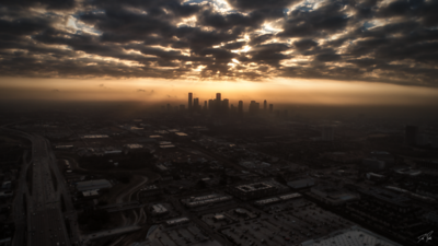 Downtown Houston Sunrise From Heights