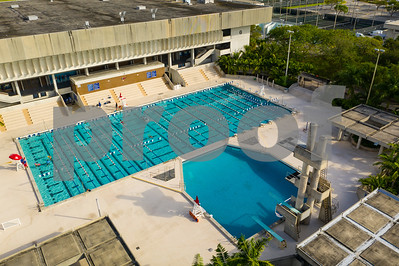 Aerial drone photo Miami Dade Community College Kendall swimming pool
