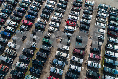 Aerial image of a junk yard for cars