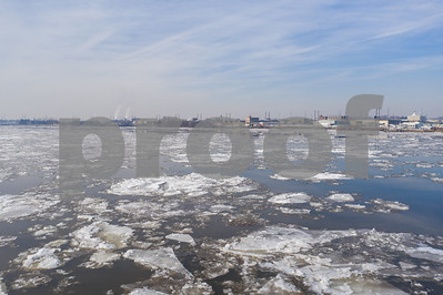 Ice in the Delaware River aerial photo