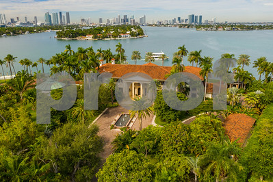 Aerial photo luxury mansions on Star Island Miami Beach Florida