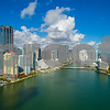 Aerial Brickell city on the bay