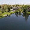 Aerial View of Luxury Home near Pond
