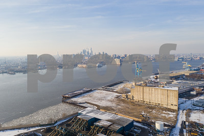 Aerial photo industrial NJ and PA on the Delaware River