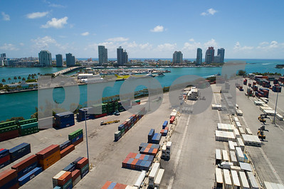 Aerial image of Port Miami containers