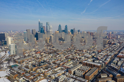 Aerial far shot of Philadelphia taken with a drone