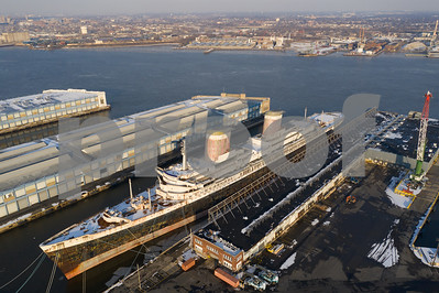 Aerial photo historic SS United States in Philadelphia PA USA