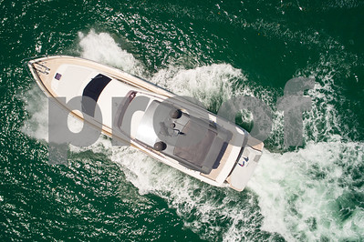 Aerial over a luxury yacht