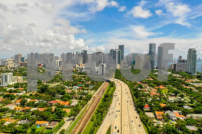 Aerial image of Brickell Miami and I95 highway leading to city