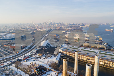 Aerial industrial district Philadelphia PA winter snow