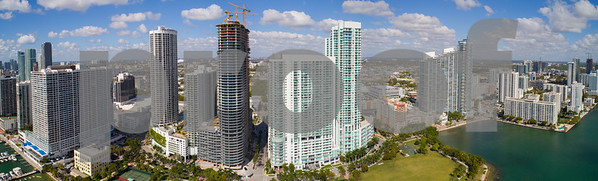 Aerial panorama of Edgewater Miami