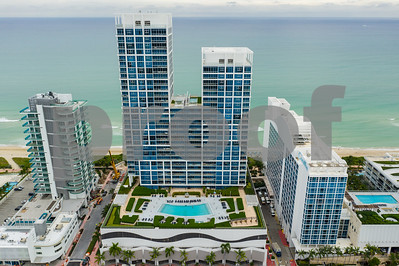 Aerial drone photo of the Carillon and Canyon Ranch Miami Beach FL USA