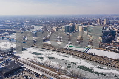 Aerial drone image of hospitals Downtown Philadelphia PA winter snow
