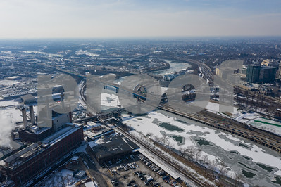 Aerial drone image winter in Philadelphia PA Schuylkill River