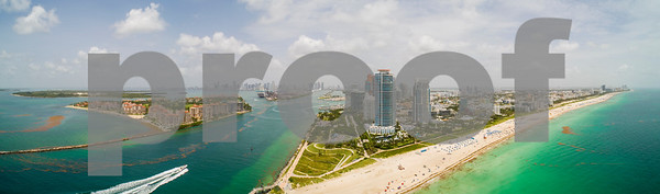 Beautiful aerial Miami Beach southernmost point