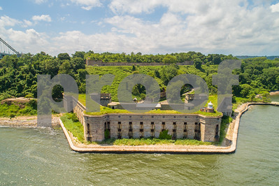 Aerial drone photo Battery Weed Staten Island New York a historic fort