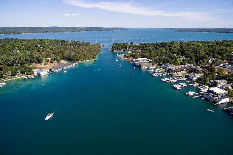Aerial View of Round Lake and Lake Charlevoix, Michigan