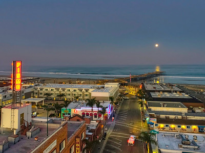 Aerial 332 Pismo Beach, Ca. Full moon setting