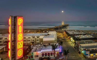 Aerial 331 Pismo BeachCa. Full moon setting