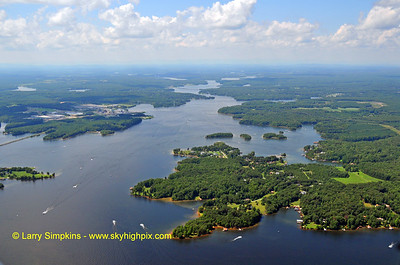 Lake Anna on a August Sunday afternoon (looking North from above the dam).